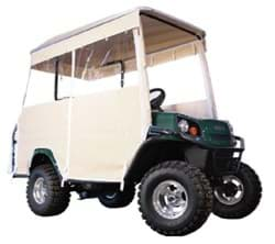 "Picture of 3 sided Over the top enclosure for a 4 seater with a 80"" OEM factory top, Beige Vinyl."