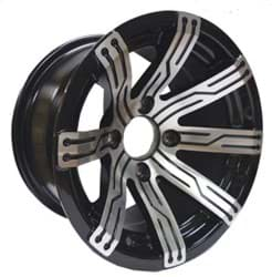 Picture of Omega, 10x7 Machined w/Black wheel with 3+4 offset. Includes center cap 40516