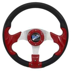 Picture of Madjax CNC milled razor steering wheel in red and black