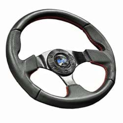 Picture of Madjax burnout automotive style steering wheel with red stitched accents