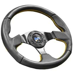 Picture of Madjax burnout automotive style steering wheel with yellow stitched accents